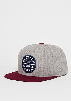 Snapback-Cap Oath ||| light heather grey/burgundy