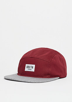 Snapback-Cap Hoover 5 Panel burgundy/light heather grey