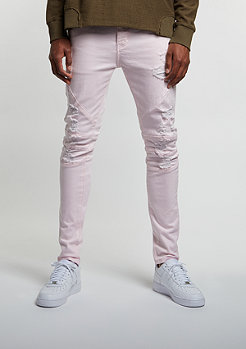 C&S Paneled Distressed Denim Pants light pink