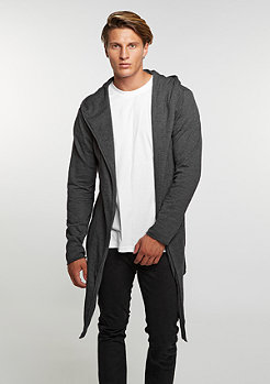 Long Hooded Open Edge Cardigan charcoal