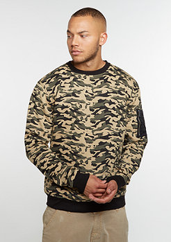 Urban Classics Sweat Camo Bomber wood camo