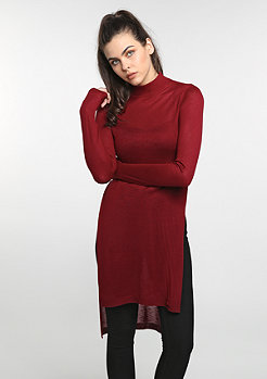 Sweatshirt Fine Knit Turtleneck Long burgundy