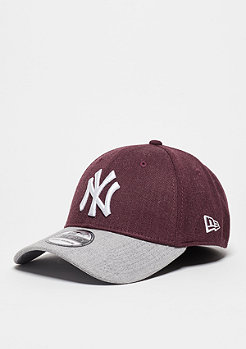 Baseball-Cap Heather Visor 39Thirty MLB New York Yankees maroon/grey