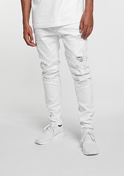 C&S Paneled Distressed Denim Pants platinum white