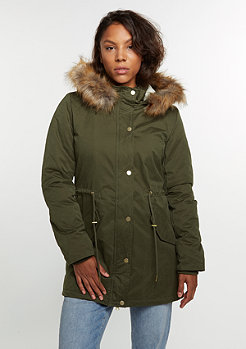 Winterjas Sherpa Lined Peach Parka olive