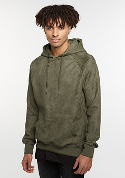 Hooded-Sweatshirt Imitation Suede olive