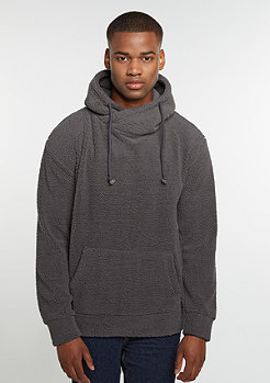 Hooded-Sweatshirt Sherpa High Neck dark grey