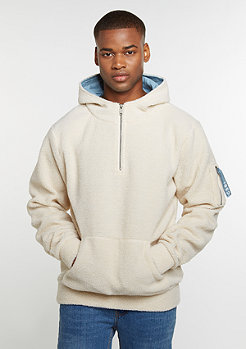 Hooded-Sweatshirt ALLDD Sherpa Half Zip off white sherpa
