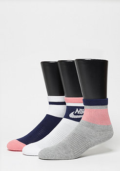 Stripe Low Quarter  (3 Pair)