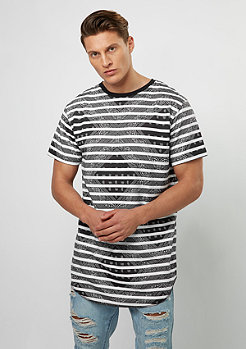 T-Shirt WL Broompton Striped Loose Scallop black