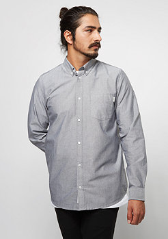 Langarm-Hemd Button Down Pocket black