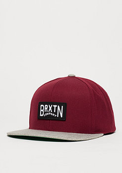 Brixton Snapback-Cap Langley burgundy/light heather grey