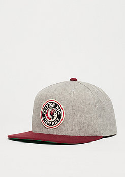 Snapback-Cap Rival light heather grey/burgundy