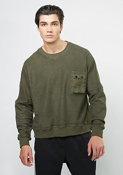 Sweatshirt Pocket Crew olive