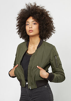 Diamond Quilt Short Bomber dark olive/black