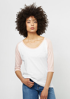 Ladies 3/4 Contrast Raglan white/light pink