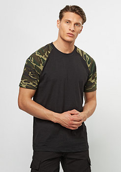 T-Shirt Raglan Contrast black/woodcamo