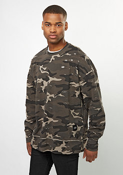 Sweatshirt Oversized And Destroyed black camo