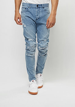 Jeans-Hose Paneled Inside Biker light blue distressed