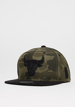 Snapback-Cap Black Suede NBA Chicago Bulls woodland camo