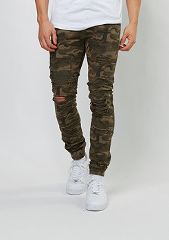 Jeans-Hose Elasticated Bottom Hem Inside Patches green camo