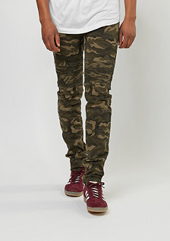 Jeans-Hose Biker Yoke & Destroyed green camo