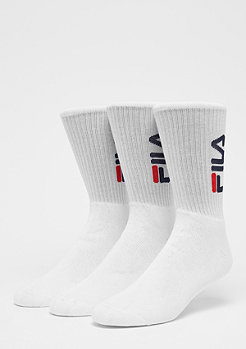 FILA Unisex Tennis Socks 3-Pair F9599 white