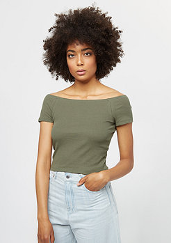Ladies Off Shoulder Rib olive