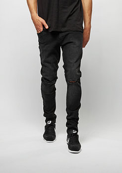 Jeans-Hose Slim Fit Knee Cut Denim black washed