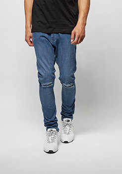 Urban Classics Jeans-Hose Slim Fit Knee Cut Denim blue washed