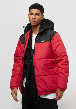 Flatbush Chest Logo Hooded Puffer black/red