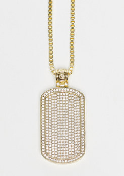 Kette Snoop Dogg Jungl Julz CZ Dog Tag gold