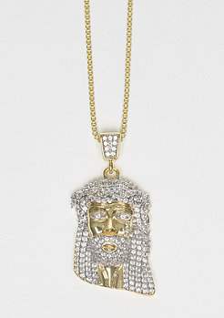 CZ Teardrops Jesus Piece gold
