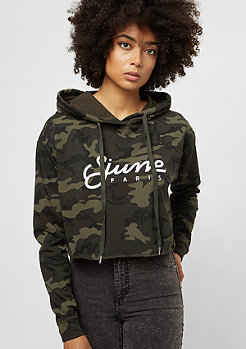 Oversized Cropped Hoodie green camo