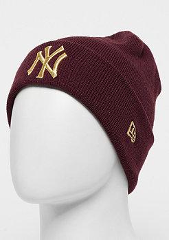 New Era Essential Cuff Knit MLB New York Yankees maroon/gold