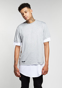 T-Shirt BL Deuces Long Layer grey heather/white