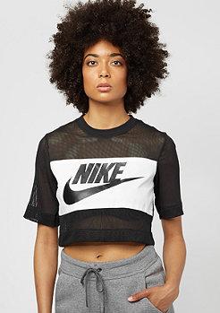 Crop Mesh black/black/white
