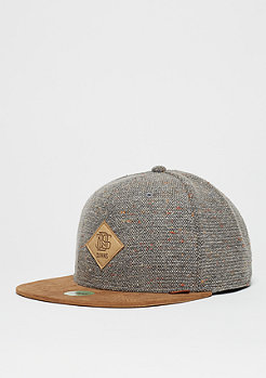 Snapback-Cap 6P Spotted Wool Pique grey