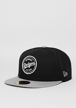 New Era Fitted-Cap 59Fifty Emblem Round Patch MLB Los Angeles Dodgers black