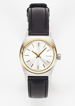 Uhr Small Time Teller Leather silver/gold/black