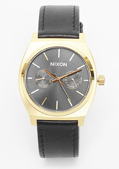 Uhr Time Teller Deluxe Leather gold/black sunray