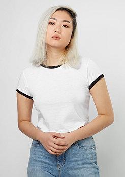 T-Shirt Cropped Ringer white/black