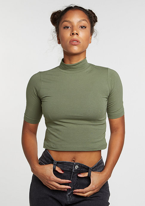 Urban Classics T-Shirt Cropped Turtleneck olive
