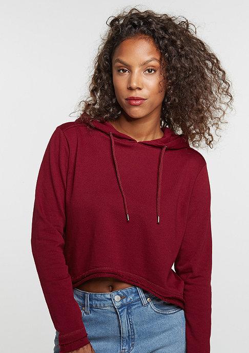 Urban Classics Hooded-Sweatshirt Cropped Terry burgundy
