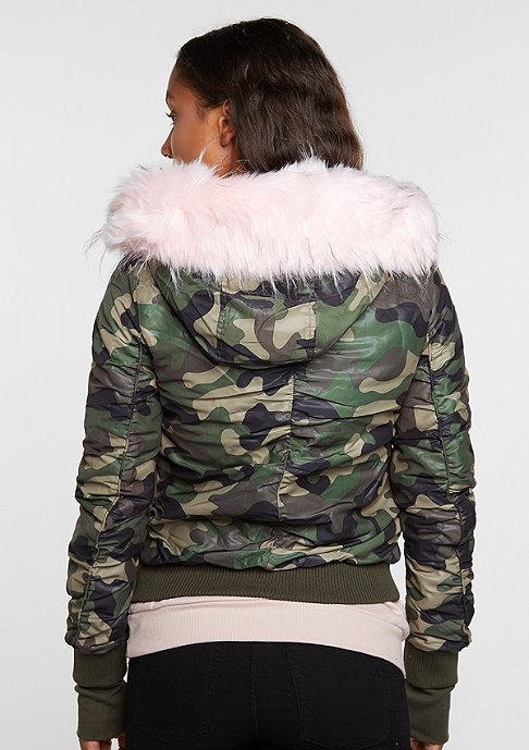 Sixth June Bomber Fake Fur green camo/baby