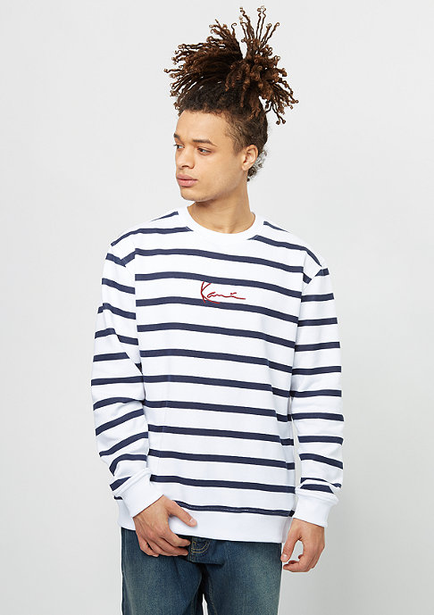 Karl Kani Sweatshirt Stripes white/navy