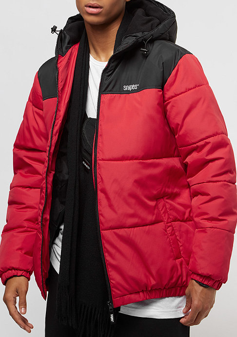 SNIPES Chest Logo Hooded Puffer black/red