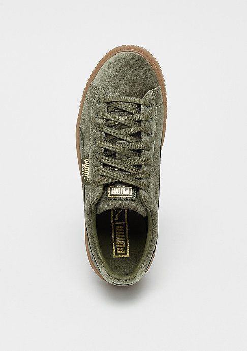 Puma Basket Platform Velvet olive night/gum/gold