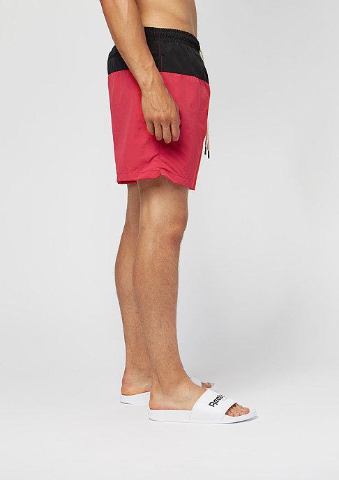 Urban Classics Block Swim Shorts black/red