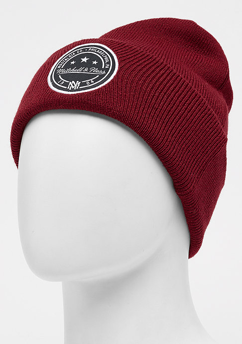 Mitchell & Ness Patch Cuff Knit burgundy